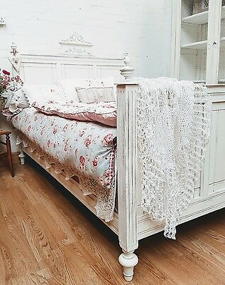 Stunning Antique French Painted Oak Double Bed - C1900