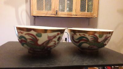 VINTAGE HAND PAINTED ORIENTAL BOWL x 2 with gold leaf
