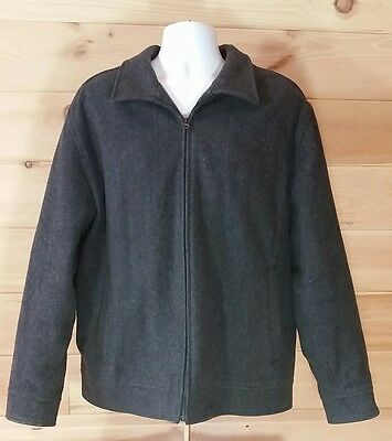 GAP Jacket Men's XL Charcoal Wool Blend Full Zip Front & Pockets Quilted Lining