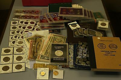 Coin and currency collection, cents, quarters, dollars, silver, gold, proofs