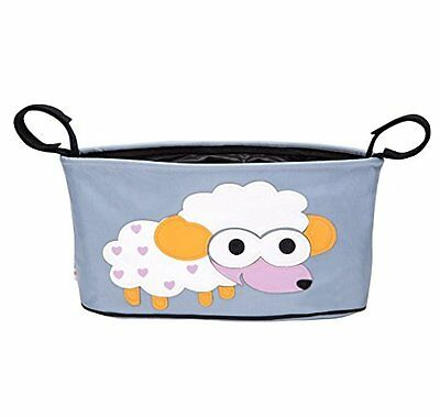 Baby Stroller Organizer Universal Fit Hanging Bag Tray Cup Holder Storage, Sheep