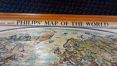 Rare Large Philips School Wall Hanging Map Of World Stunning Circa1959
