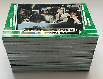 2017 Topps Star Wars 40th Anniversary- Complete GREEN Parallel Set (100) Cards