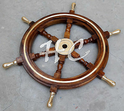 "Decorative 6 spoke Ship wheel with brass center & Ring 24"" Wooden Boat Steering"