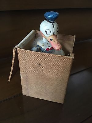 Rare Vintage Celluloid Donald Duck jack in the box squeaker toy figure Disney