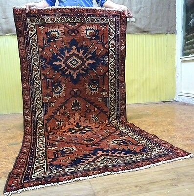 "C 1930 Hamadan Antique Persian Exquisite Hand Made Rug 3' 2"" x 6' 4"""