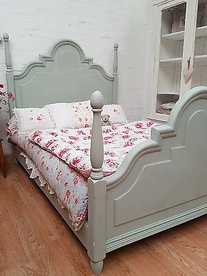 Stunning Vintage French Painted Oak Double Four Poster Bed - C1940