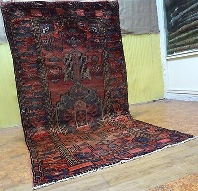 "Stunning C 1930 Hamadan Antique Persian Exquisite Hand Made Rug 3' 7"" x 6' 11"""