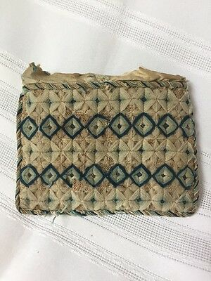 Antique Silk Lined Woven Covered Sewing Notions Case