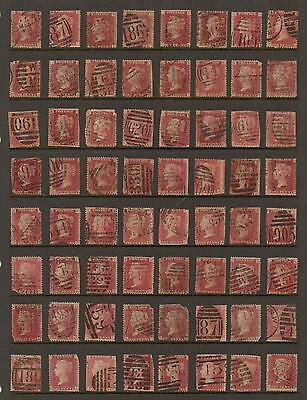 GB QV Penny Red SG43 Plate Collection - Damaged