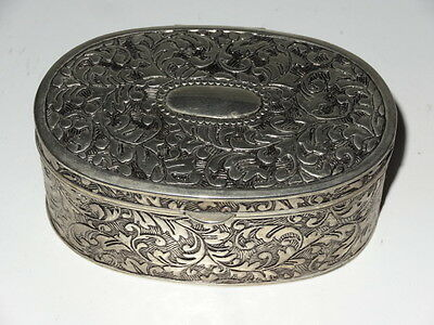 Lovely Ornate Silver Plated Lined Jewellery Box