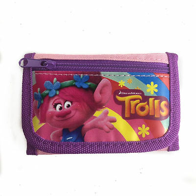 Dreamworks Trolls Poppy & Friends Children Kids Tri Fold Wallet Licensed Purple