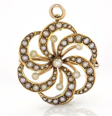 Antique Solid Rose Gold 14k 585 Seed Pearl Charm Pin Brooch Pendant