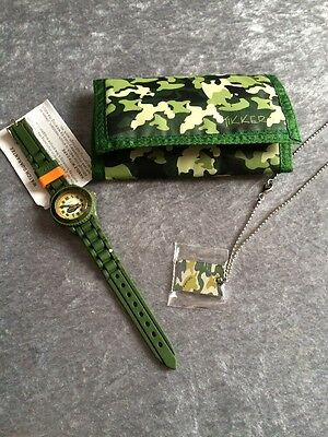 Boys Tikkers Watch Set. Watch, Metal Tag Chain With Camouflage Print & Wallet