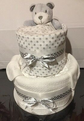 Baby Shower Nappy Cake Unisex Boy Girl Neutral Baby Gift