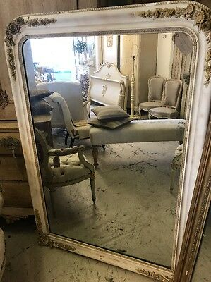Huge, Antique, French, White Original Paint And Plaster, Over mantle Mirror