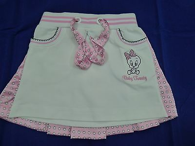 """NWT Monnalisa """"Baby Tweety"""" baby girl pink and white skirt size 18 months/89 cm"""
