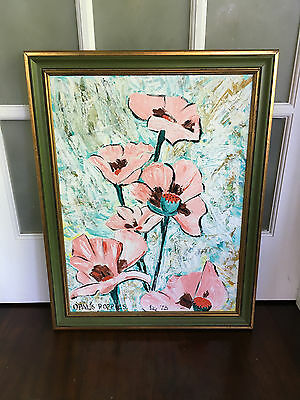 Vintage Mid Century/Hollywood Regency Floral/Poppies Oil Painting -Signed