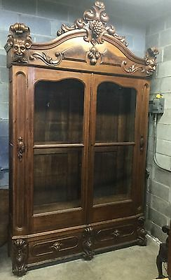 Large Walnut And Burl Renaissance 2 Door Bookcase