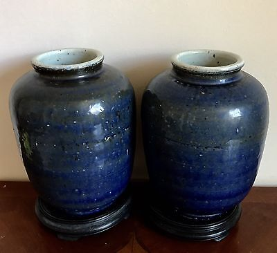 Lrg Antique Chinese Ming Dynasty Transitional Pair Of Blue & White Porcelain Jar