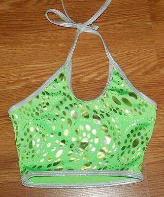 Adult Small Green Silver/Gold Foil Sparkle Polka Dot Dance Halter Top Shirt EUC!