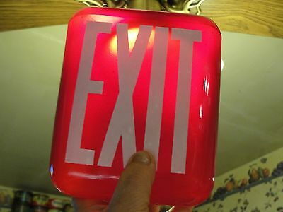 Vintage Ruby Red Glass Over The Door Exit Sign,with Fixture,garage,shop,store