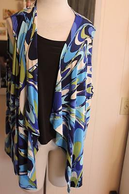 NWT Slinky Brand Blue Patterned Printed Asymmetrical Waterfall Vest Plus Size 3X