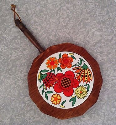 Vintage 1970s Trivet Hot Plate Wooden Tile Flowers Colorful Kitchen Handle Wall