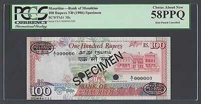 Mauritius 100 Rupees ND(ca.1986) P38s Specimen TDLR N002 About Uncirculated