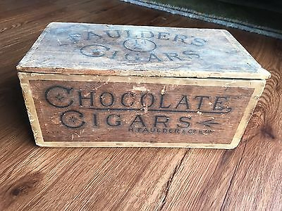 Antique Henry Faulder's Chocolate Cigars Candy Advertising Box Packaging England
