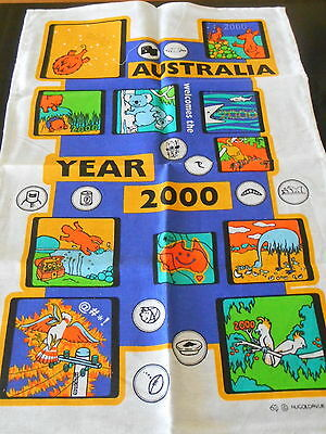 Vintage Linen/cotton Australian Souvenir Tea Towel* Australia Welcomes The 2000