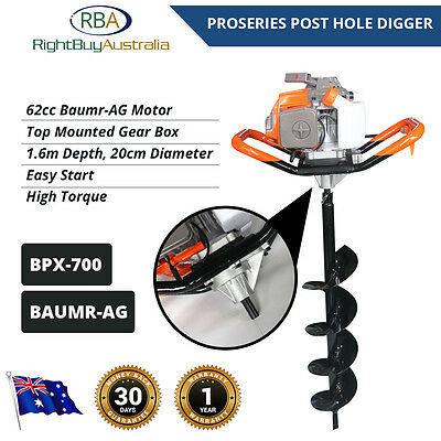 Baumr-AG Industrial Post Hole Digger Earth Auger Petrol 62cc 4.1HP High Torque