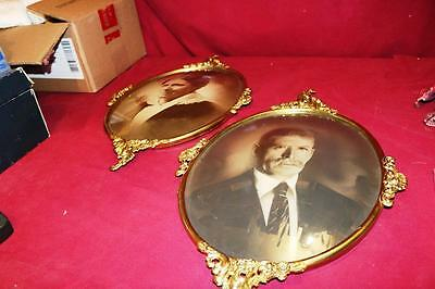 "1910s 20s  Antique PAIR DOMED CONVEX BUBBLE GLASS ORNATE METAL FRAMES 19"" x 13"""