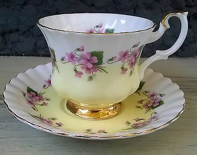 Pretty Yellow with Purple Violets Royal Albert Tea Cup and Saucer