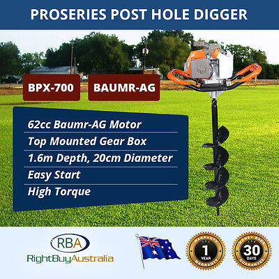 NEW Baumr-AG ProSeries Post Hole Digger 62cc High Torque 1.6m x 20cm Post Hole