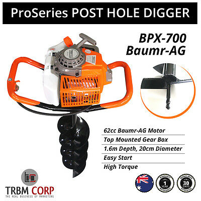 ProSeries Baumr-AG POST HOLE DIGGER 62cc, 1.6M, 20cms Augur Borer Fence Post