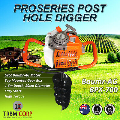 Industrial Post Hole Digger 1.6m x 20cms Auger, 62cc 4.1HP BPX-700 Pro Series