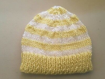 Newborn beanie/hat  - Hand Knitted - Colour - Lemon and White Stripes