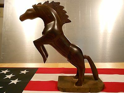 LARGE HAND CARVED WOODEN STALLION HORSE Amish Crafted -One of a Kind! Equestrian