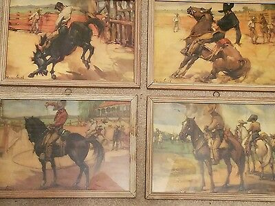 Vintage Western Theme Watercolor Prints - Set of 4 - Mexico - Signed