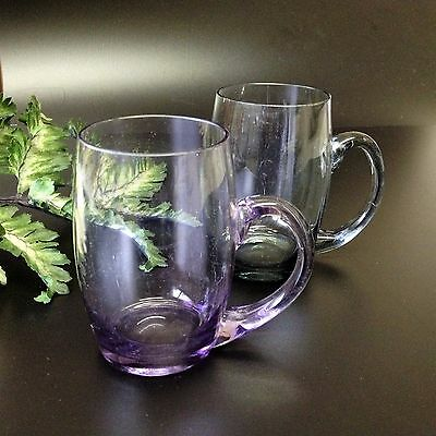 2 x Fine Coloured 225ml Drinking Glasses / Mugs with Handles -Cranberry & Smoke