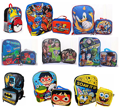 Little Boys School Backpack Lunch box Set Cartoon Book Bag Kids Children Heroes