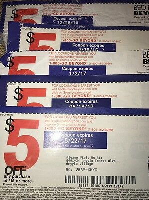 BED BATH & BEYOND Lot Seven (7) $5 OFF OF $15 SINGLE PURCHASE Save 35 In Store