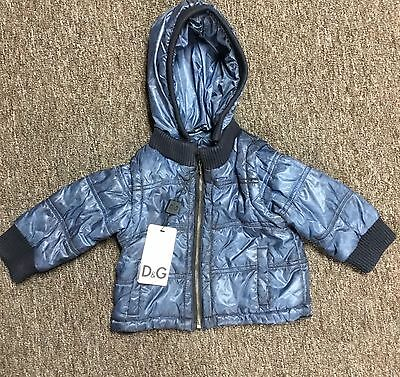 $360 D&G Junior Sea Blue Hooded Puffer Jacket Sz 6/9 Months