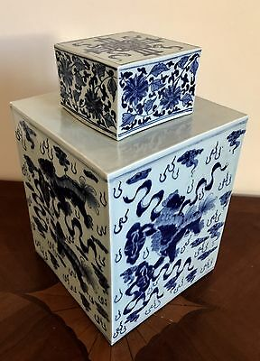 Lrg Antique Chinese Qing Or Ching Dynasty Blue & White Lion Porcelain Jar