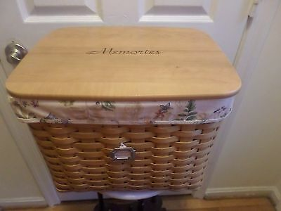 Rare  Longaberger Hostess File Basket Combo Botanical Liner Memories Wood Lid