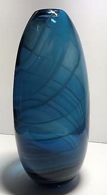 Large Murano Glass Round Blue Vase | Collectable Art Glass - 32Cm