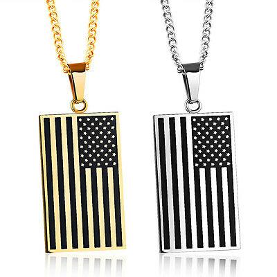 Men Stainless Steel Pendant Necklace Chain American USA Flag Dog Tag Gold Silver