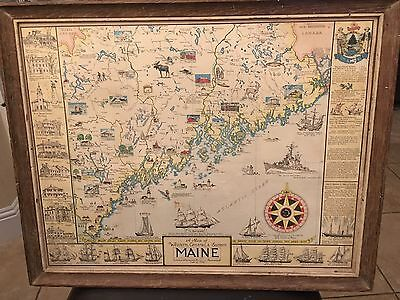 Vintage Map Of Maine