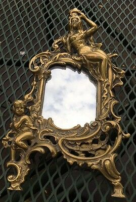 Vintage Brass Picture Frame Easel Mirror w/Victorian Woman Crown & Cherub HEAVY